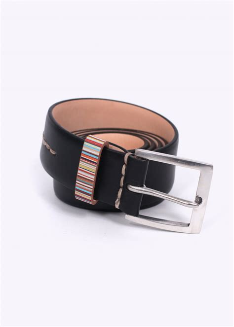 Paul Smith Metal Keepers Belt by Paul Smith Stripe Keeper Leather Belt Black