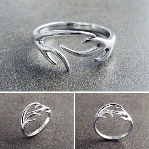 you had me at camo beautiful silver antler ring