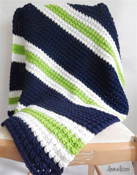 color pattern crochet twin crochet striped baby blanket 1 navy white green