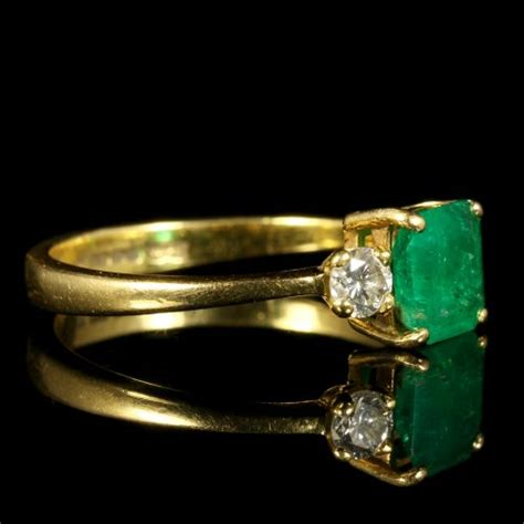 antique emerald ring 18ct gold engagement ring