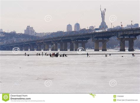 boat building ukraine kiev ukraine frozen dnieper river stock photo image