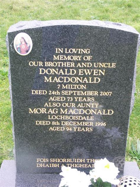 Ewen Macdonald Also Search For Mr Donald Ewen Macdonald Grave 663 Hallan Cemetery South