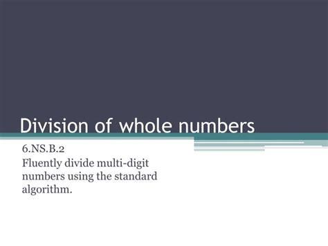 Ppt Division Of Whole Numbers Powerpoint Presentation How To Present Numbers In Powerpoint