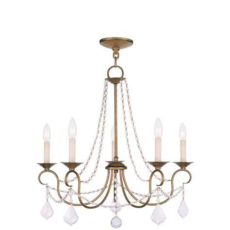 Antique Gold Chandelier Livex Lighting Providence 5 Light Antique Gold Leaf Incandescent Ceiling Chandelier 6515 48