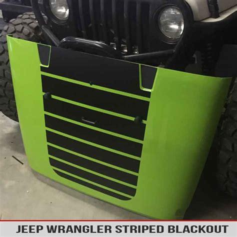 blackout jeep wrangler jeep wrangler striped hood blackout alphavinyl