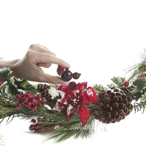 large artificial pine and poinsettia garland garlands