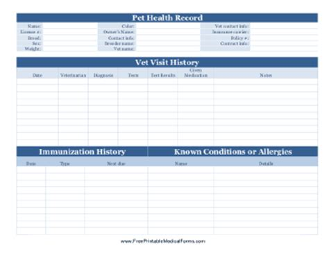free personal health record template printable pet health record