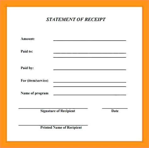 received with thanks receipt template receipt received shipment delivery receipt template