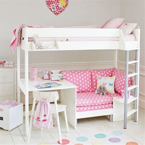 cabin beds for girls merlin high sleeper white with pink star sofa bed