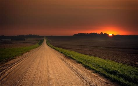 stunning road field red sunset wallpapers stunning road