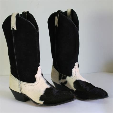Cowhide Boots 80s Genuine Cowhide And Black Suede Western Cowboy Boots Sz