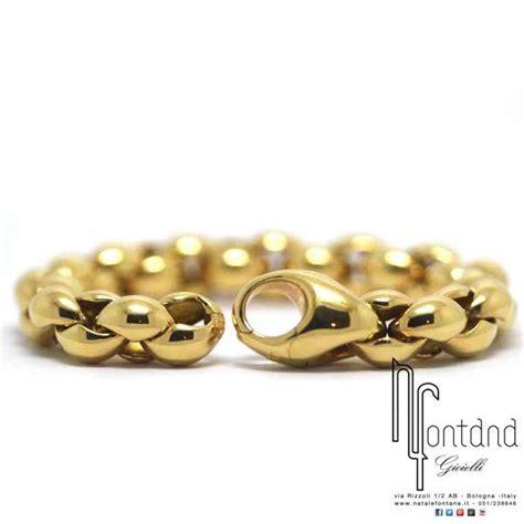 bracciali pomellato pomellato bracciale in oro giallo a maglia bombata ovale