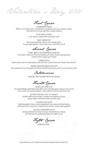 5 Course Meal Menu Template by Special S Day Menu At Aspire Monday 2 14
