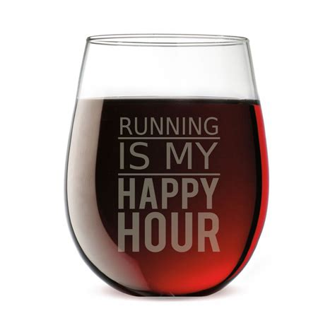 Happy Hour Wine Cube by Running Stemless Wine Glass Running Is My Happy Hour