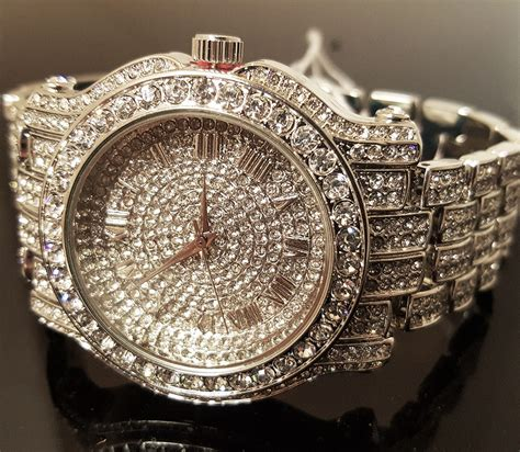 hip hop iced out white gold techno pave bling