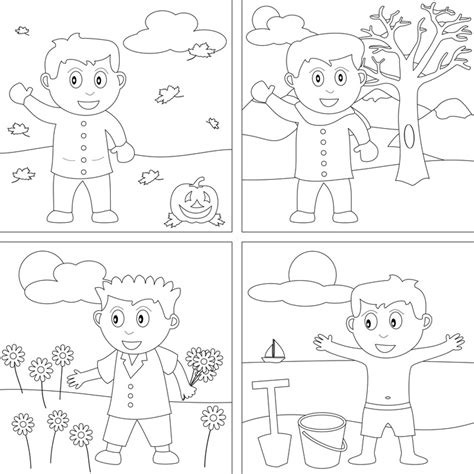 4 seasons coloring pages preschool printables