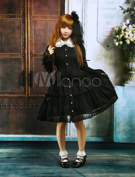 V Jumpsuit Lolis black cotton op dress sleeves collar