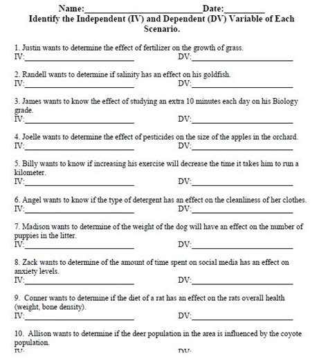 independent variable worksheet independent and dependent variable worksheet worksheets