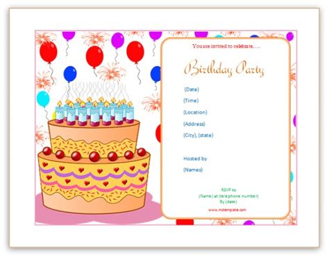 Bday Invitation Templates microsoft word templates birthday invitation templates