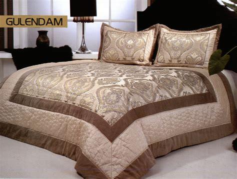 Satin Bedspreads Gulendam 3pc Satin Bedspread Set Fits Both King