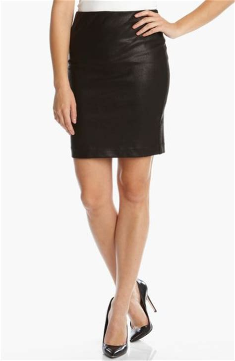 faux leather pencil skirt in black lyst