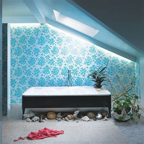blue bathroom wallpaper aqua blue bathroom with motif wallpaper bathroom