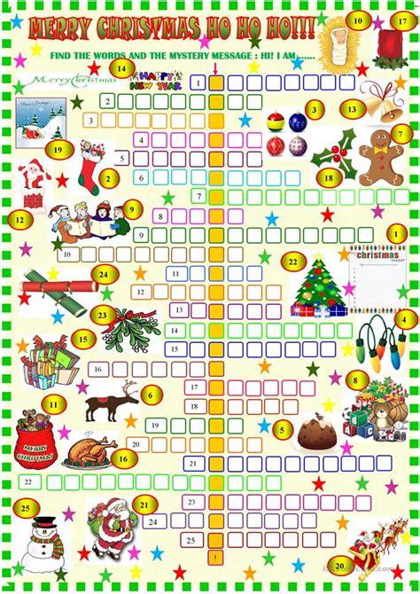 printable christmas english games merry christmas crossword worksheet free esl printable
