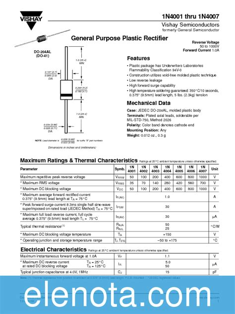 1n4007 diode datasheet 1n4007 datasheet pdf 23 kb vishay pobierz z elenota pl
