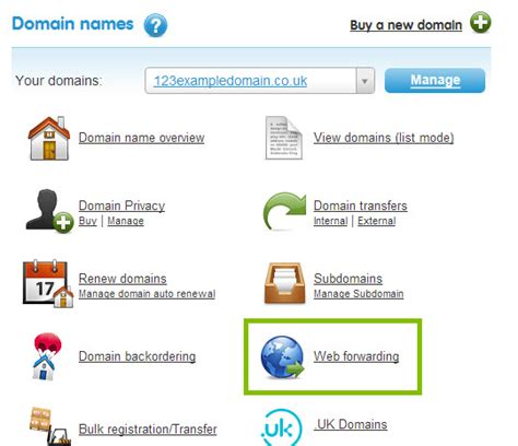 web forwarding how do i forward my domain name to another website 123