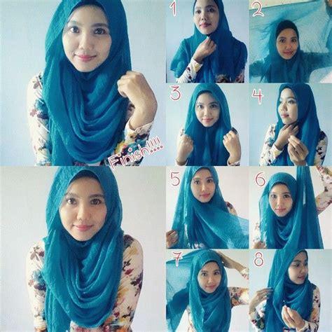 gaya  memakai jilbab segi empat model pashmina