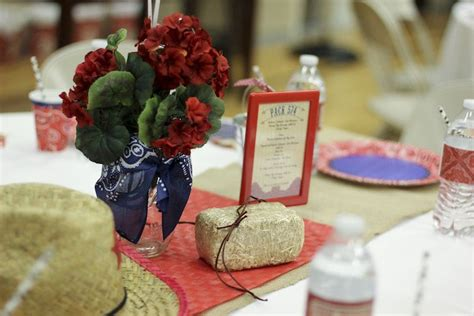 blue and gold banquet centerpieces kara s ideas western themed cub scout blue gold