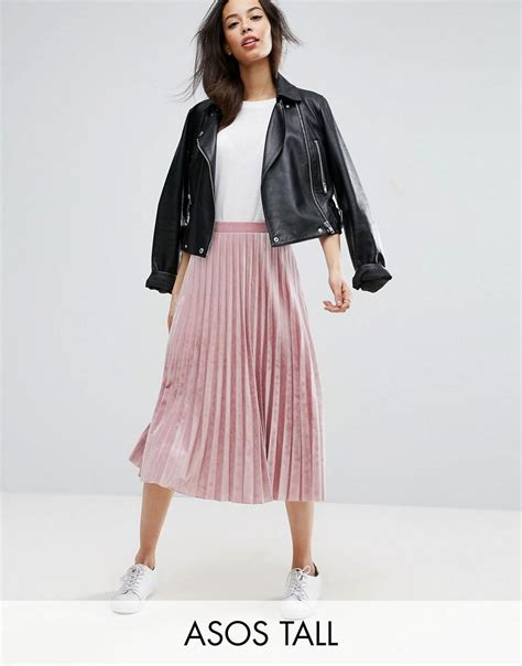 Pleated Midi Skirt Rok Murah Promo asos pleated midi skirt in velvet in pink lyst