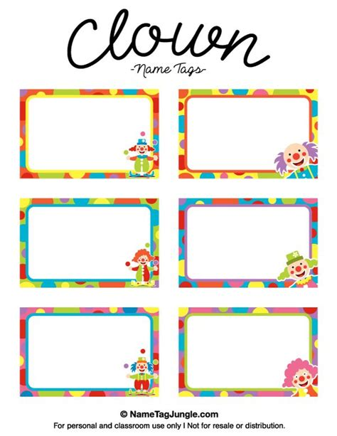 name the template free printable clown name tags the template can also be