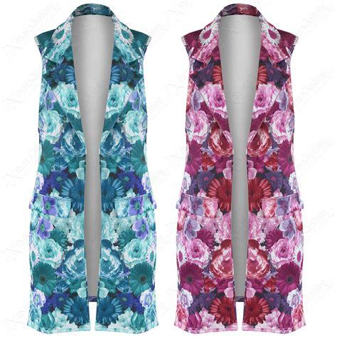 Blezer Flower floral sleeveless blazer fashion ql