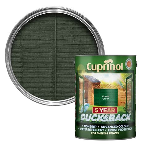 cuprinol  year ducksback forest green shed fence