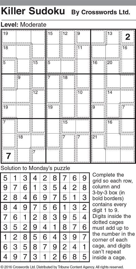 printable sudoku diabolical killer sudoku moderate sle 2 tribune content agency