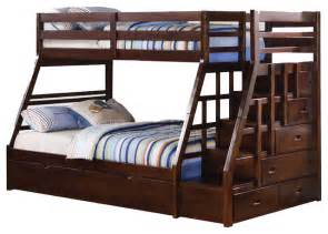 Bunk Bed With Trundle And Stairs Espresso Wood Stairway Chest Bunk Bed W Trundle Step Stairs Contemporary