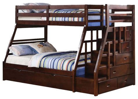 twin full bunk beds espresso wood stairway chest twin over full bunk bed w