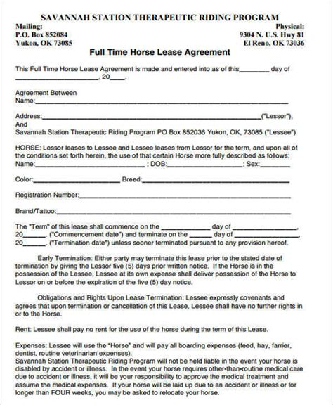 printable horse lease agreement 38 printable lease agreements