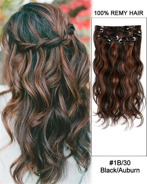 layuri hair extensions 100 remy human hair guide to 14 7pcs 1b 30 black auburn body wave 100 remy hair clip