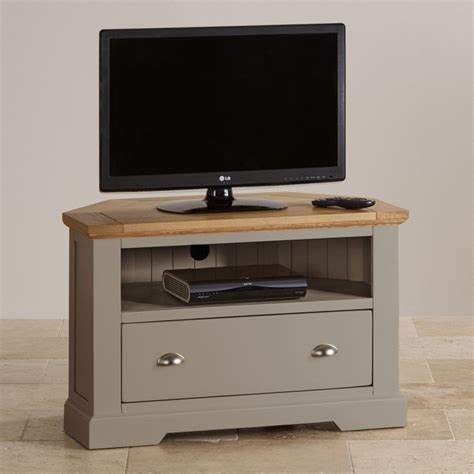 Painted Tv Cabinet by St Ives Corner Tv Unit In Grey Painted Acacia With Oak Top