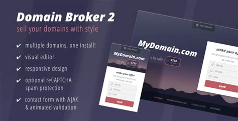 Domain Broker 2 Landing Page To Sell Domains By Loewenweb Themeforest Domain Landing Page Template