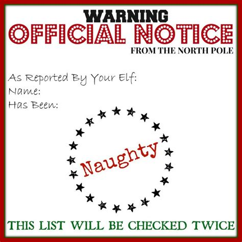 elf on the shelf naughty list warning printable naughty itsamommysworld com elf on the shelf ideas