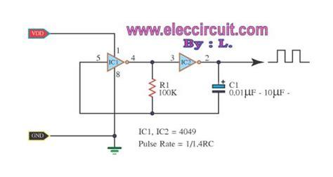 clock generator circuit diagram ic 4049 hex inverter datasheet square wave oscillator