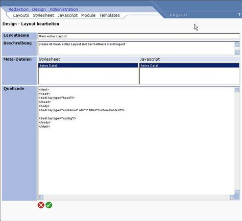html quellcode layout handbuch erste schritte dedi help