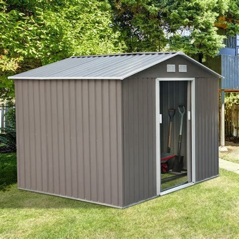 outsunny  garden storage shed steel garage utility tool building outdoor ebay
