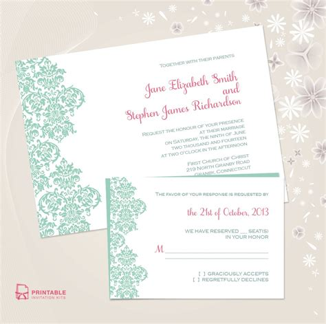 printable wedding invitations uk damask border wedding invitation free printable wedding