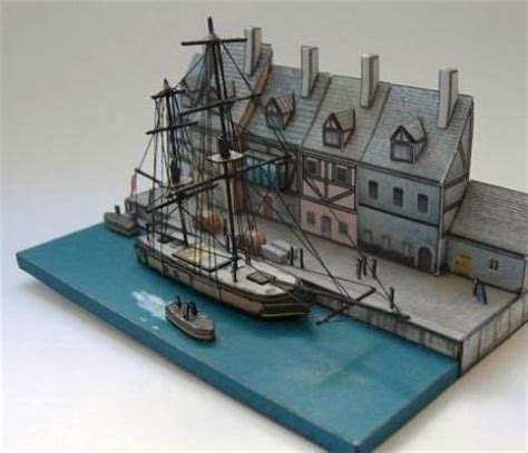 Free Papercraft Models - papermau harbor dock diorama paper model by oliver