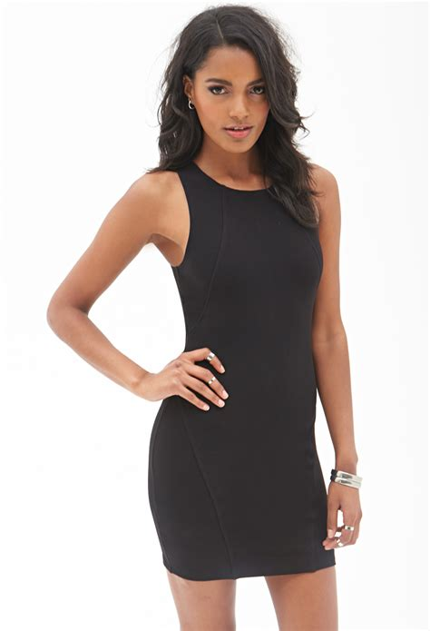 knit bodycon dress forever 21 ribbed knit bodycon dress in black lyst