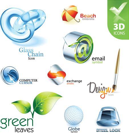 Iconos y logos 3d brillantes diseñan vector Free DownLoad Y Logo 3d